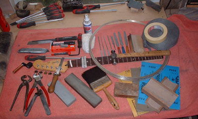 All the tools ready for a re-fret on a Strat.